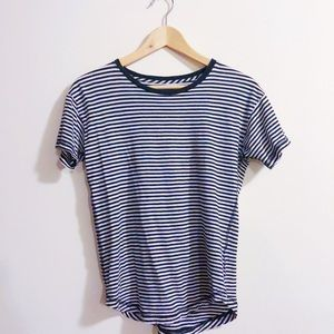 Madewell Slub Crew Tee in Black and Ivory